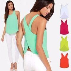 Summer Sexy Cross Back Strap Chiffon Blouse - Daisy Dress For Less - 1