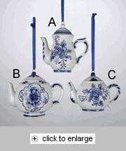Porcelain Blue Delft Teapot Christmas Ornament