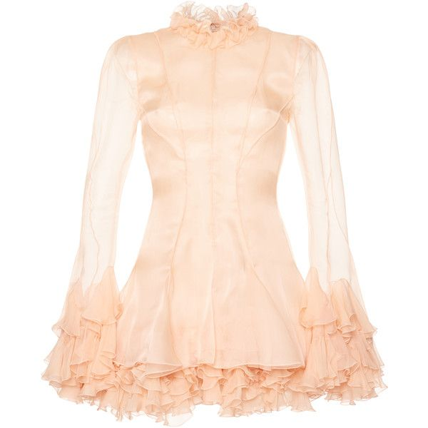 Francesco Scognamiglio Ruffled Mini Dress ($2,565) ❤ liked on Polyvore featuring dresses, pink, high neck dress, short silk dress, pink silk dress, silk dress and long sleeve mini dress