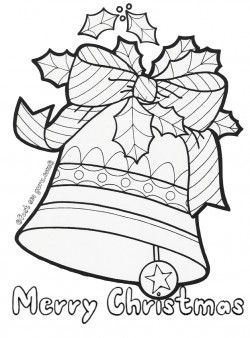 Printable Christmas Jingle Bells Coloring Pages For KidsChristmas Bell Decorated With Leaves And Ribbon