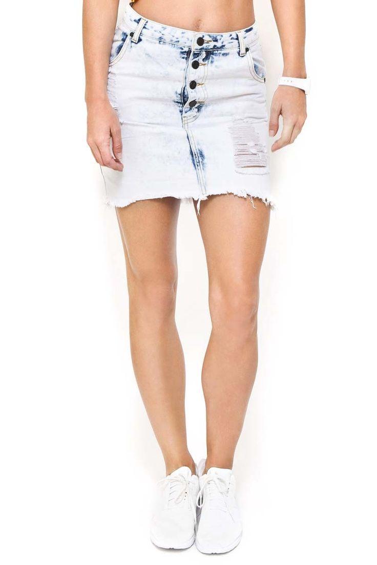 First Base - Cut Up Mini Skirt