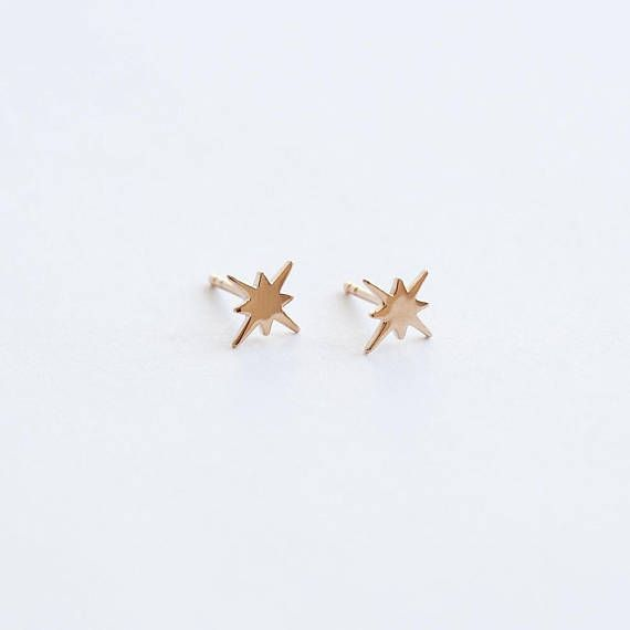 tiny gold studs starburst studs star studs gold stud - Hundedusche Ring