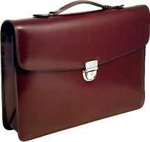 Jack Georges Slim Flapover Leather Briefcase 4501