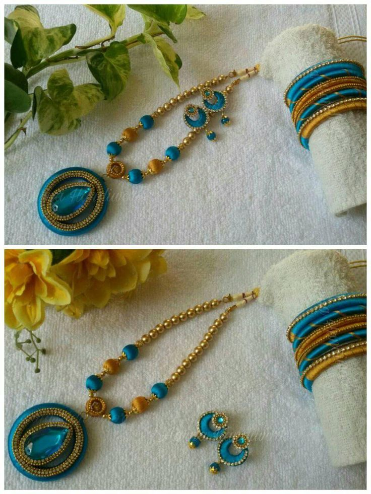 Blue and gold silk thread beads set with kudan pendant Can be customised to any preferred colour.  To order watsapp to 83174 95219