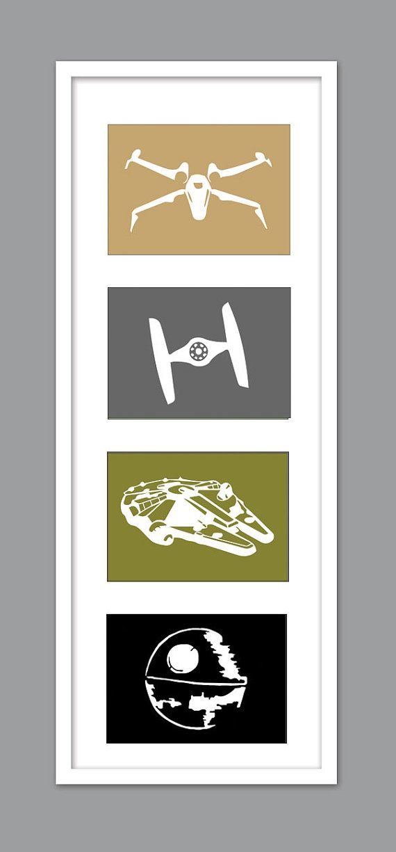 4 Star Wars Ship Silhouettes for Nursery/Boys Nursery/Millenium Falcon/DeathStar/Tie Fighter - Set of 4 - 5x7s