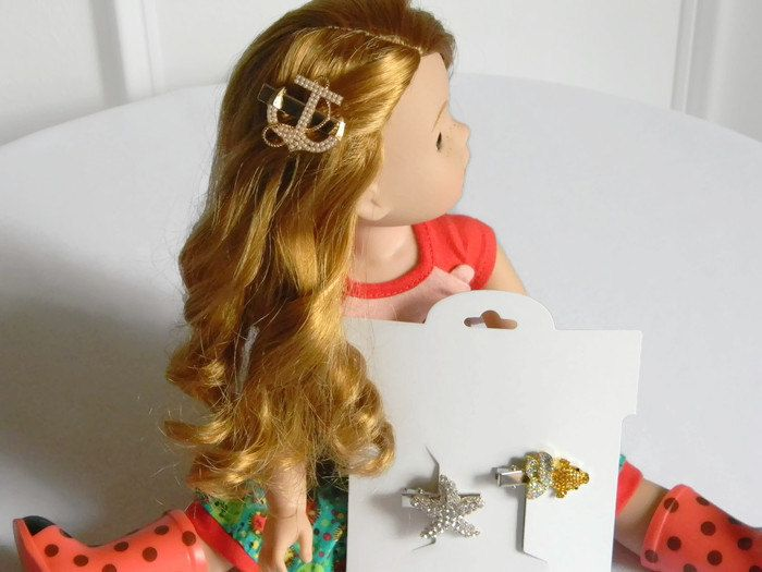 """Wellie Wisher Hair Clips Set of 3 Nautical w/ Rhinestones Anchor Gold Fish Starfish 14"""" Doll Hair Accessory Fits 18"""" Doll Stocking Stuffer by HouseofHairDecor on Etsy"""