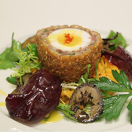 Caledonian Highland Egg With Venison, Pork Belly, Fat, Lardo, Unsalted Butter, Garlic, Shallots, Red Onion, Thyme Leaves, Sage, Flat Leaf Parsley, Eggs, Salt, Salt, Honey, Ground White Pepper, Rosé Wine, Eggs, Crumbs, Pinhead Oatmeal, Flour, Eggs, Celery Root, Lemon Juice, Dijon Mustard, Mustard, Crème Fraîche, Mayonnaise, Salt, Whisky, Honey, Lemon Juice, Cider Vinegar, Rapeseed Oil, Seasoning, Watercress, Leaves, Olive Oil, Pippin Apples, Walnuts, Chives, Smoked Paprika