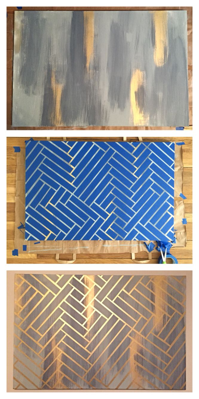 DIY Herringbone Painting ::    Layer acrylic paint and gold spray paint, create a pattern using painters tape, finish off with a coat of gold spray paint! Peel off the tape and you have a fabulous painting that is super simple to make.