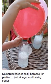Need to fill balloons with helium? A DIY cheap way: vinegar and baking soda!