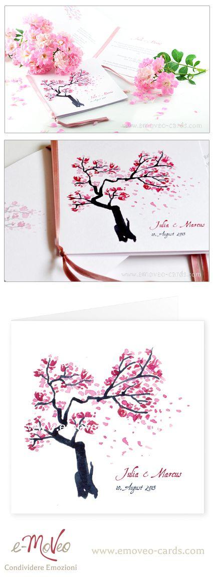 Pink Spring wedding invitation card by e-MoVeo Cards Partecipazione matrimonio rosa Rose Hochzeitseinladung www.emoveo-cards.com