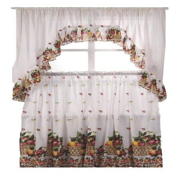 Kashi Home Fruit Basket Printed Kitchen Curtain Swag Set 130 Dkk Liked On