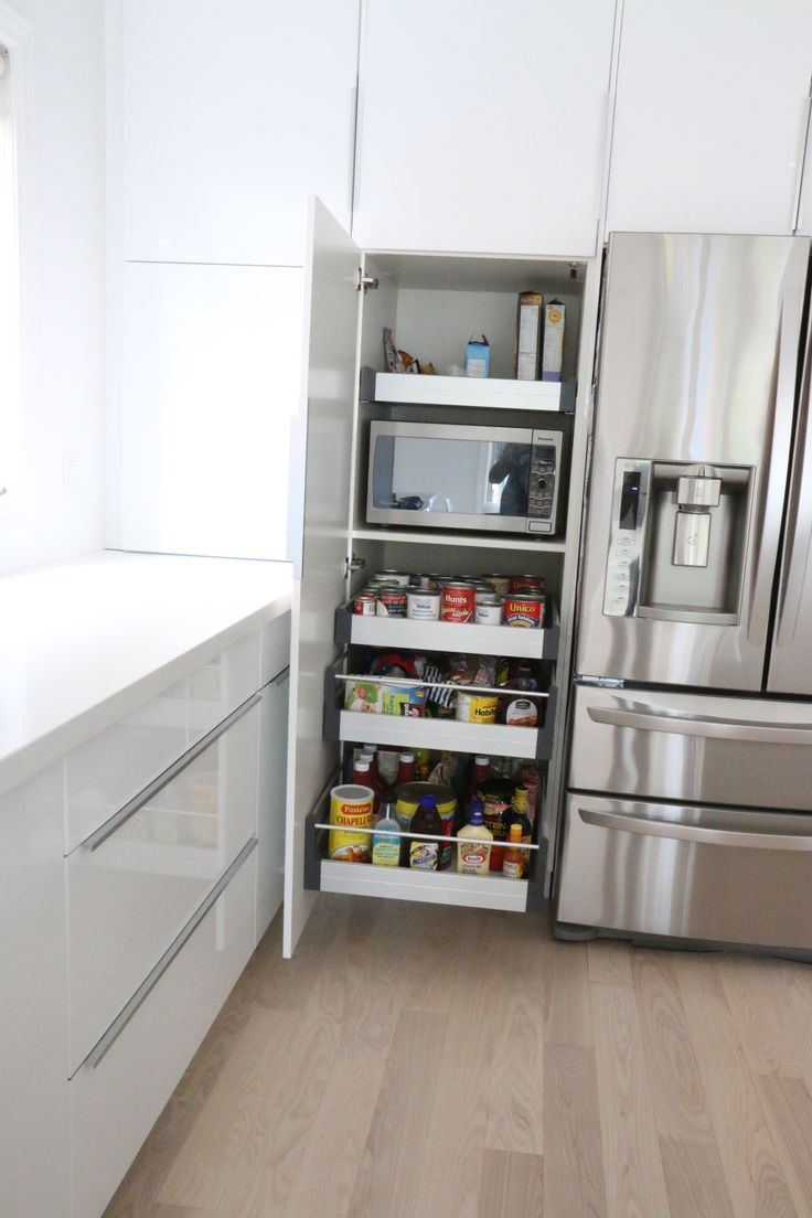 Perfect way to hide the microwave, and still make it very accessible.