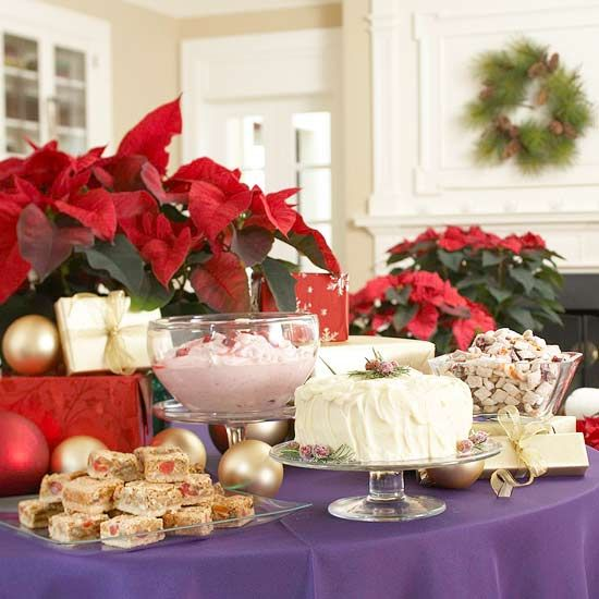 Add Presents and Poinsettias as Table Accents~ pretty dessert buffet