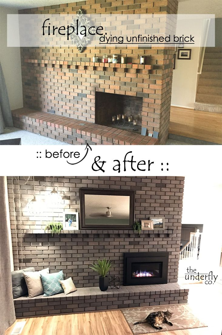 Changing brick color without paint, white wash or stain using concrete dye. Fireplace makeover from vintage orange and brown to a modern grey, before and after.  --  A quick photo journal of my easy DIY experience coloring unfinished fireplace bricks with concrete dye.