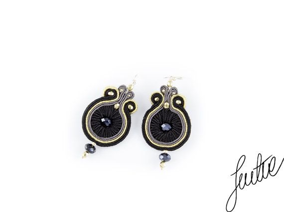 Crystals unique handcrafted soutache earrings by JustineWorld, $65.00