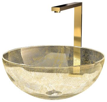 laguna gold is mostly transparent with an artistic cloud of golden color embedded within its circular eclectic bathroom