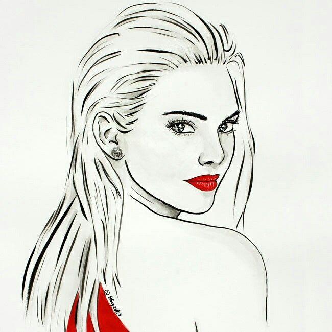 The Hot Kylie Jenner. Portrait gezeichnet mit Gouache.