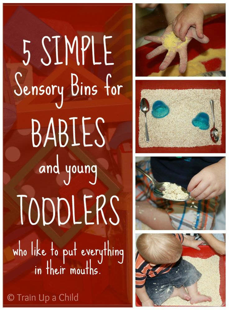 5 Simple Sensory Bins for Babies and Toddlers. These can be made with supplies you likely have around your house already, and they are all safe for little ones who mouth everything.