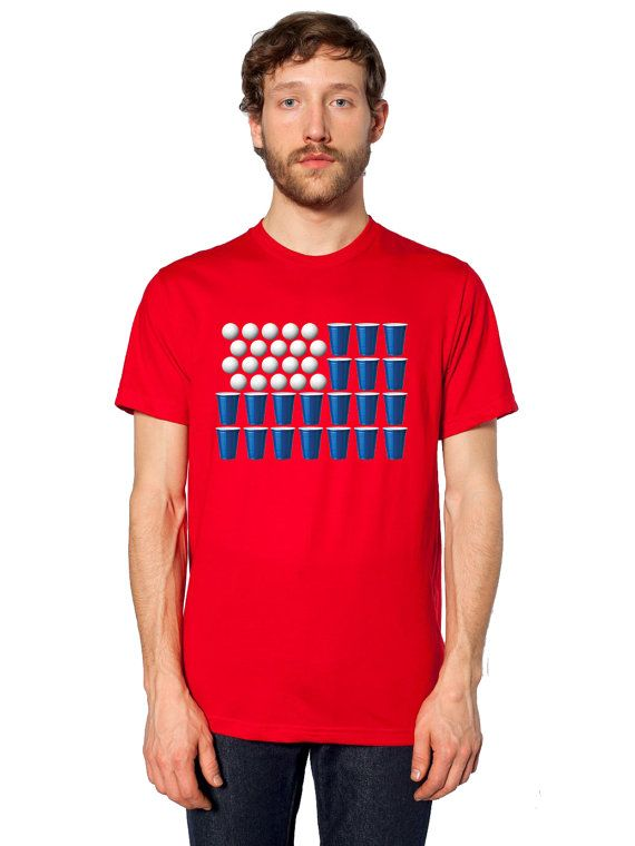 American Flag 4th of July Beer Pong Tshirt Bar College Pub Frat Party Drinking Tee Shirt Flip Cup Champion St. Patty's Humor College Drunk by Umbuh