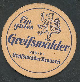 """Bierdeckel """"Ein gutes Greifswalder"""", VEB Greifswalder Brauerei"""