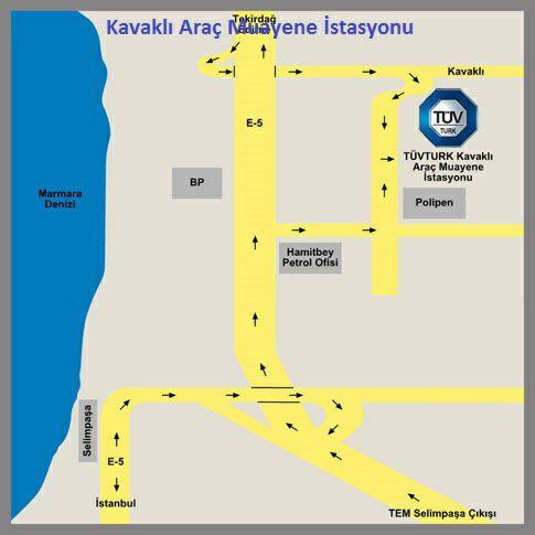 Kavaklı Araç Muayene İstasyonu Krokisi