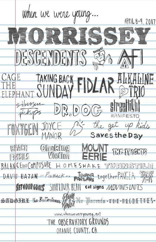 Morrissey. The Descendents. AFI. Taking Back Sunday. Alkaline Trio. When We Were Young music festival is looking like an emo kids' wonderland.