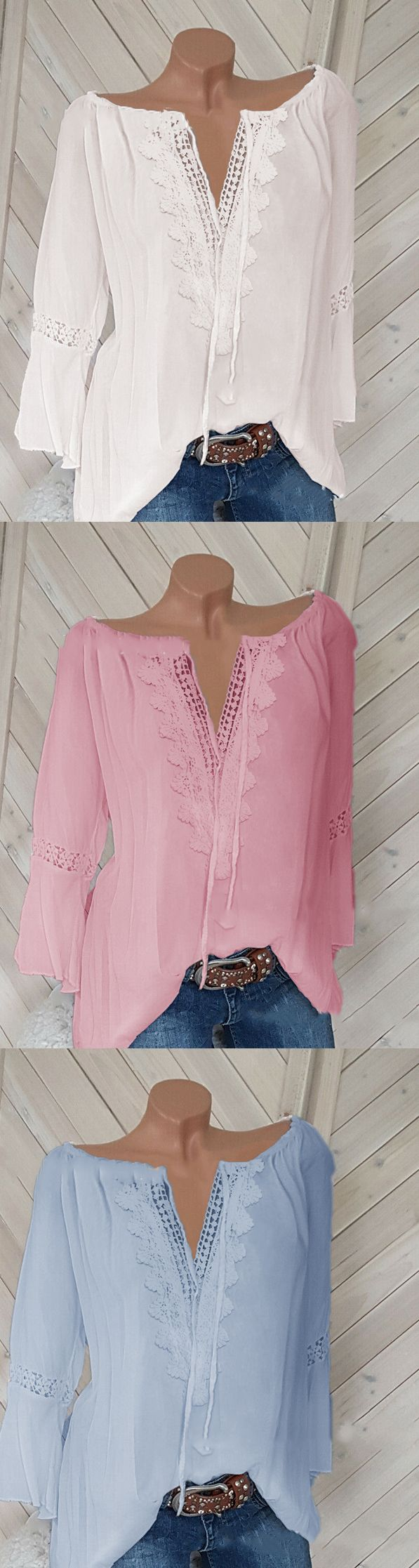 SHOP NOW>>$23.99 SALE!Casual Long Sleeve V Neck Plus Size Shirts Tops