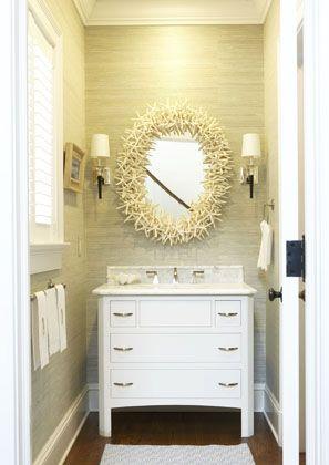 Rowayton Home | Lillian August starfish mirror +towel bar + grasscloth + sconces