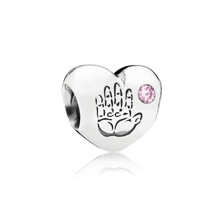 PD186747FZ Pandora Baby Girl Silver Charm With Pink Cubic Zirconia