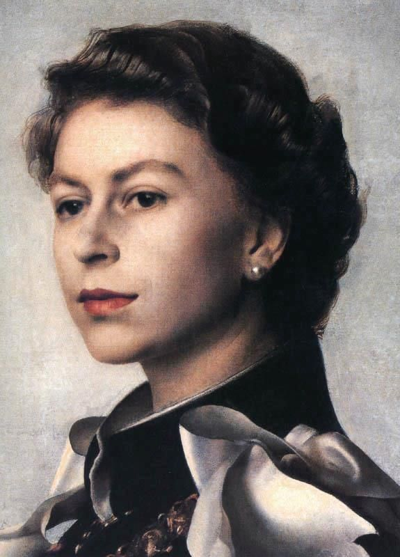 Detail of Annigoni's portrait of Queen Elizabeth II
