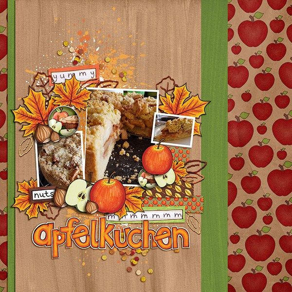 """Autumn scrapbook page created with the """"Thankful Brads & Tapes"""" digital scrapbooking elements from Kate Hadfield – ideas and inspiration for Fall scrapbooking! Layout created by Creative Team member Birgit"""