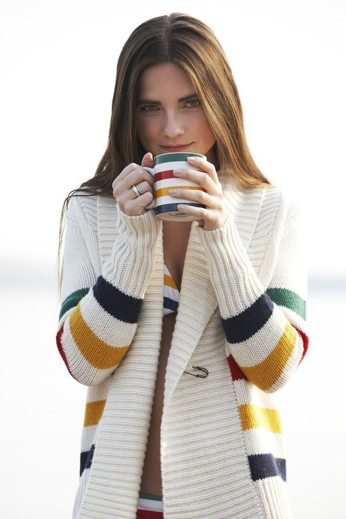 Opt for a classic Canadian look in this multistripe shawlneck cardigan by HBC Signature. This heritage-chic sweater is ideal for cozying up at the cabin. - Shawl neckline - Long sleeves - Oversized sa