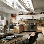 Modern Industrial Style Open-Plan Kitchen Dining and Living Area Design Ideas