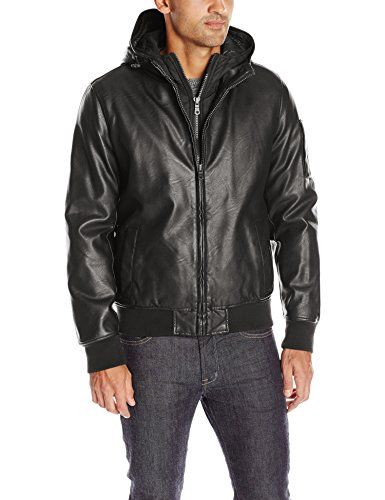 Price $225 Tommy Hilfiger Mens Smooth Lamb Touch Faux Leather Bomber with  Double