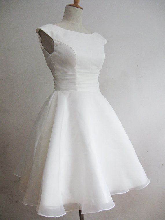 Vintage 1950s Ivory Short Wedding Dress by RockRollRefresh on Etsy - $95. Bridal or rehearsal party
