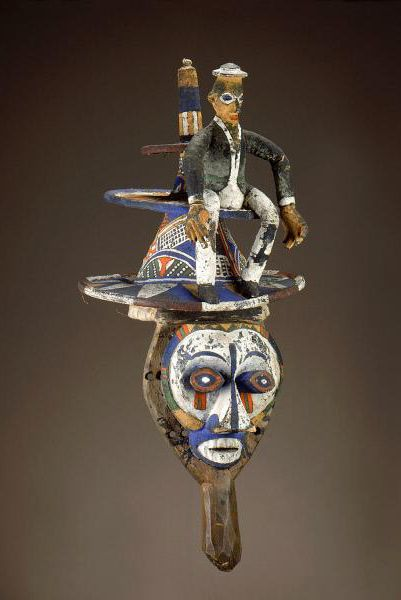 Africa | Mask from the Yaka people of DR Congo | Wood, cloth, plant fiber, pigment and paint | Mid 1900s
