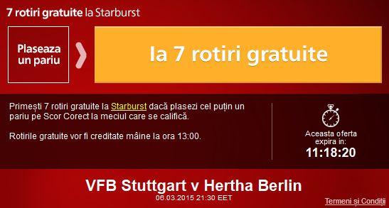 Fa un pariu pe Stuttgart - Hertha si ia 7 rotiri gratuite la Sportingbet - Ponturi Bune