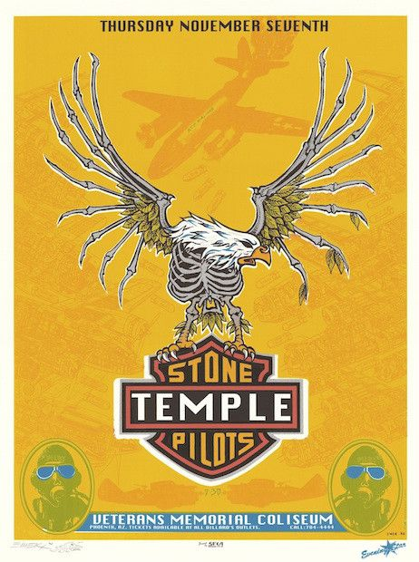 "Stone Temple Pilots poster (click image for more detail) Artist: EMEK Venue: Veterans Coliseum Location: Phoenix, AZ Concert Date: 11/7/1996 Size: 16"" x 21"" Condition: Mint Notes: signed and doodled ("