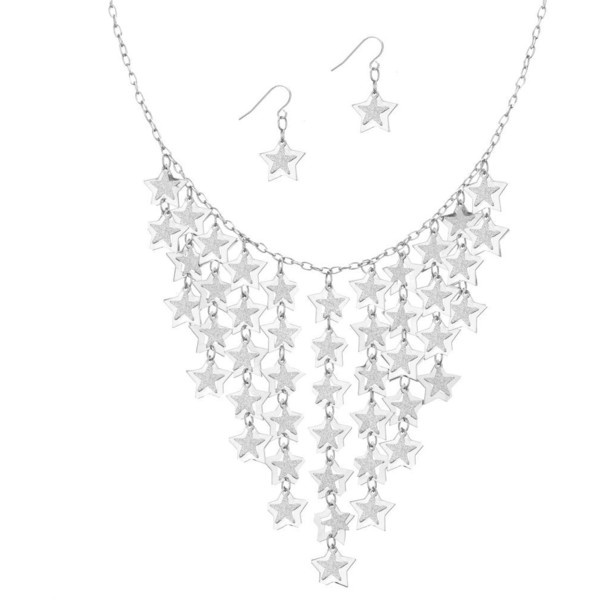 Silver Waterfall Star Necklace With Matching Earring ❤ liked on Polyvore