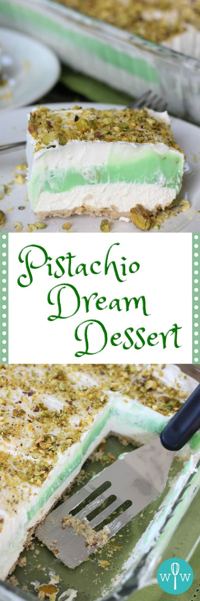 Pistachio Dream Dessert - A wonderful, light anytime dessert! A delightful pecan crust covered in layers of whipped topping, creamy pistachio pudding, and crunchy chopped pistachios. | www.worthwhisking.com