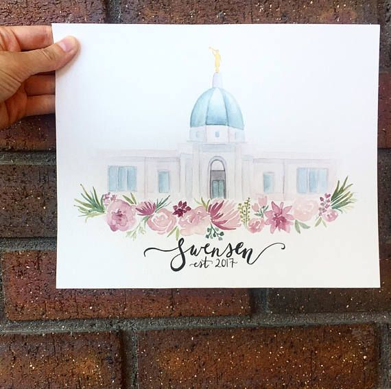 Custom LDS Temple Watercolor | Temple Painting | Watercolor Temple | ANY TEMPLE | Made to Order
