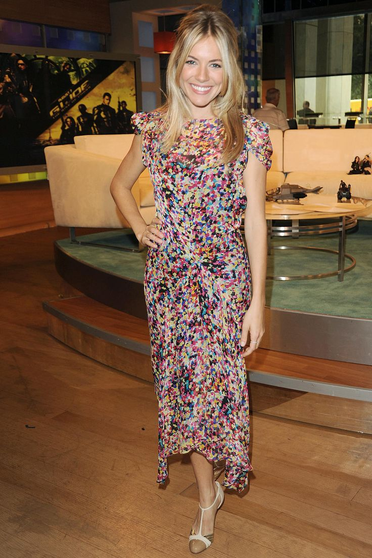 August 2009  Sienna Miller wearing a Diane von Furstenberg dress for an appearance on The Early Show.