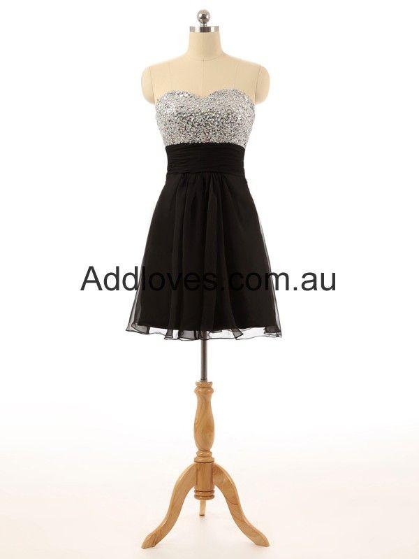 A-Line Black Short Chiffon Cocktail Dresses