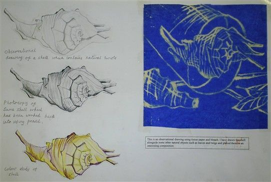 Year 10 sketchbook page, Warden Park school