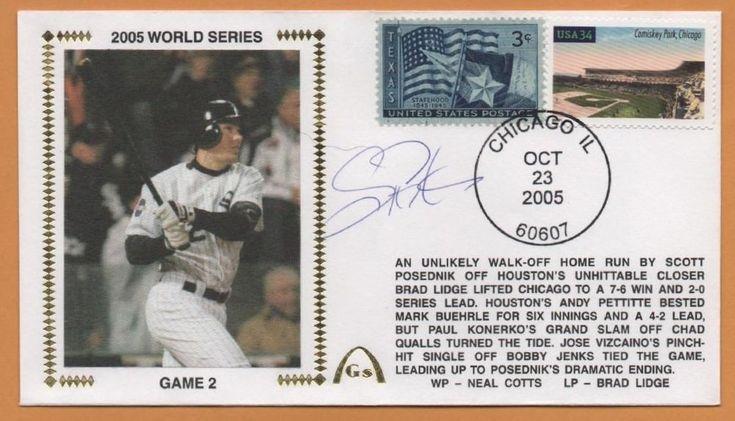 Scott Podsednik BLEM 2005 World Series Signed Gateway Stamp Envelope Postmarked #ChicagoWhiteSox