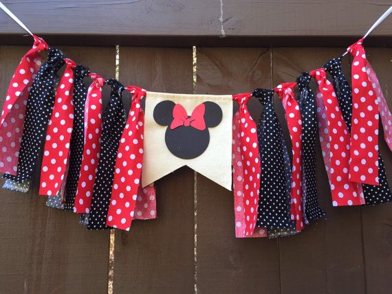 Minnie Mouse Birthday Banner Party Classic Minnie by LoveSews