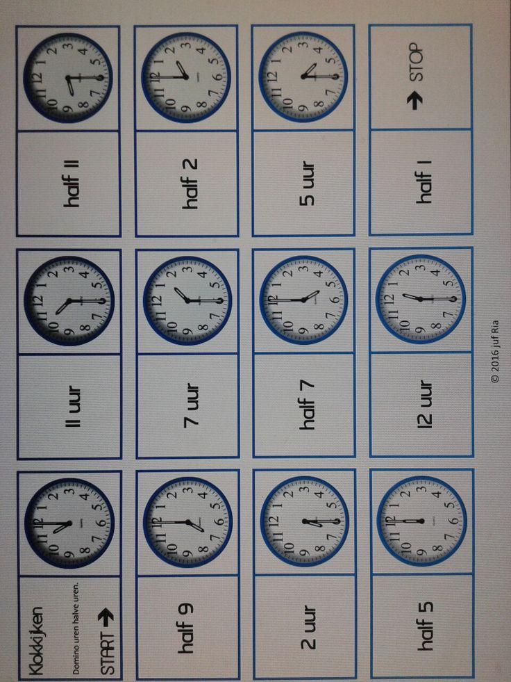 Domino klokkijken hele en halve uren. Te downloaden van digischool o.v.v. Ria R.