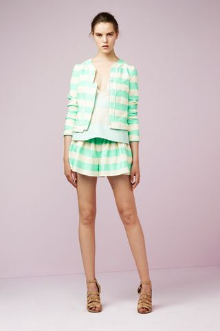 Mint green + stripes + suit