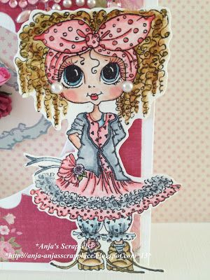 Besties close-up by Anja.... I love the pearls for her earrings!... see her card in blog post