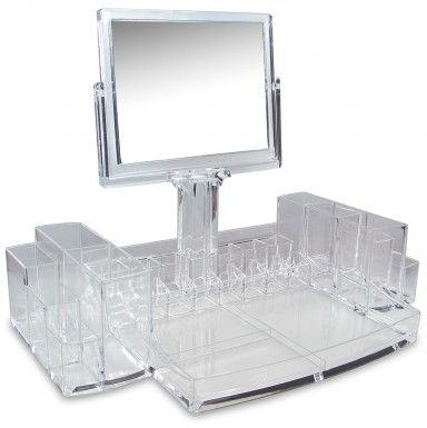 """Luxury Cosmetic Make Up Organizer With Two-Sided Mirror 15""""W x 9""""L x 11 1/4""""H (from bottom to the top of the mirror)"""